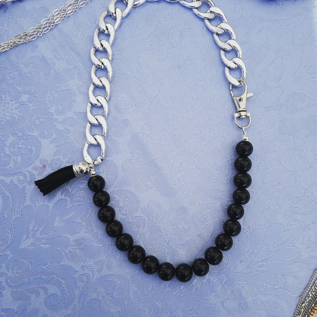 collana  metà catena e perle