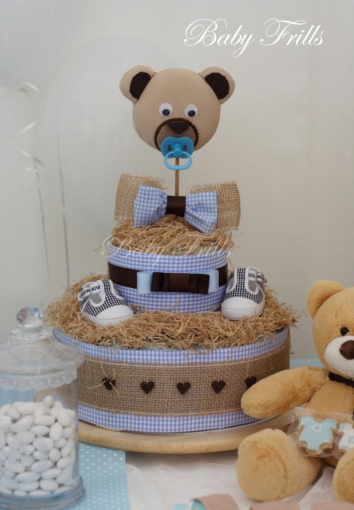 """Torta di Pannolini """"E' nato un orsetto"""" (small)"""