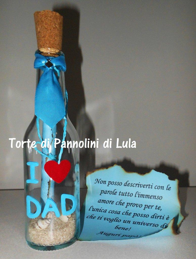 Festa del Papà Idea regalo Messaggio in bottiglia personalizzabile-anniversario