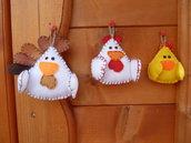 Set 3 decorazioni pasquali in feltro imbottito