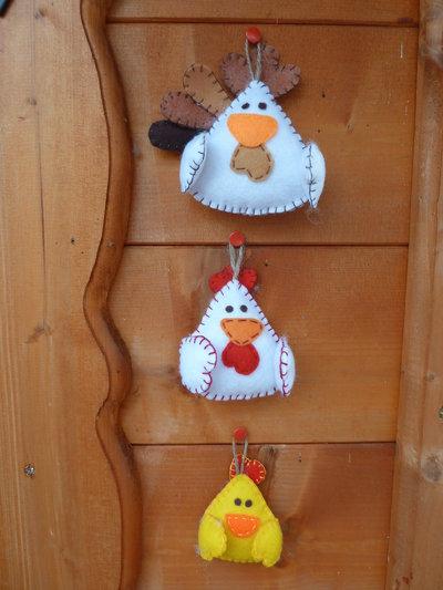 Set 3 Decorazioni Pasquali In Feltro Imbottito Feste