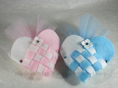 Bomboniera cuore intrecciato per bimba o bimbo