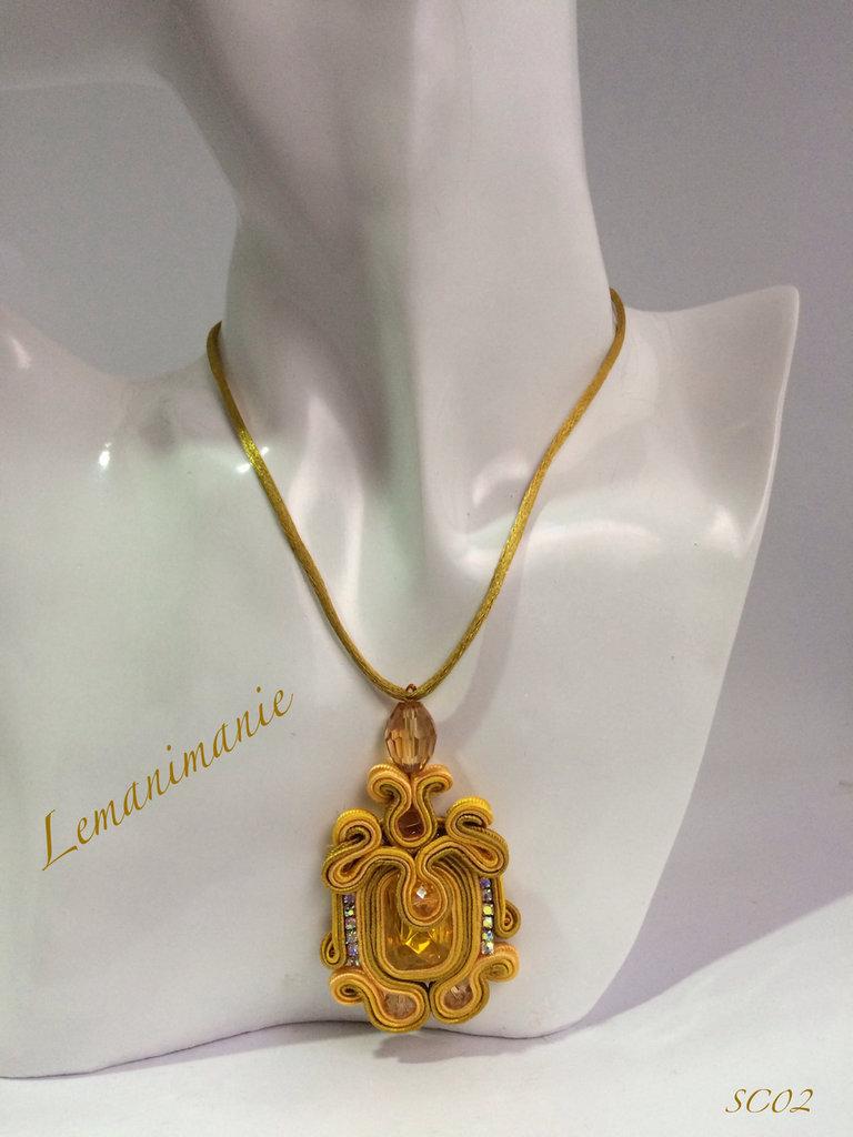 #Ciondolo #ambra #soutache #Lemanimanie