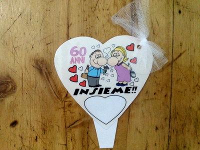 Cake topper cards decorazioni per torte anniversario 60 for Decorazioni torte per 60 anni di matrimonio