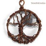 Collana wire con albero della vita in rame e labradorite