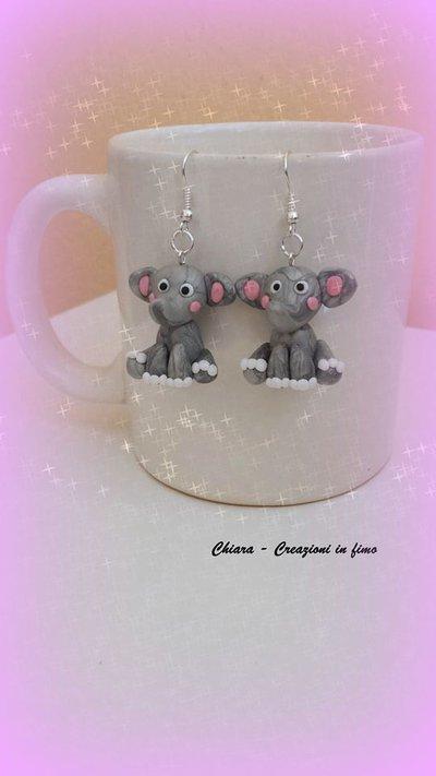 Orecchini in fimo handmade Elefanti kawaii miniature idee regalo amica bomboniere