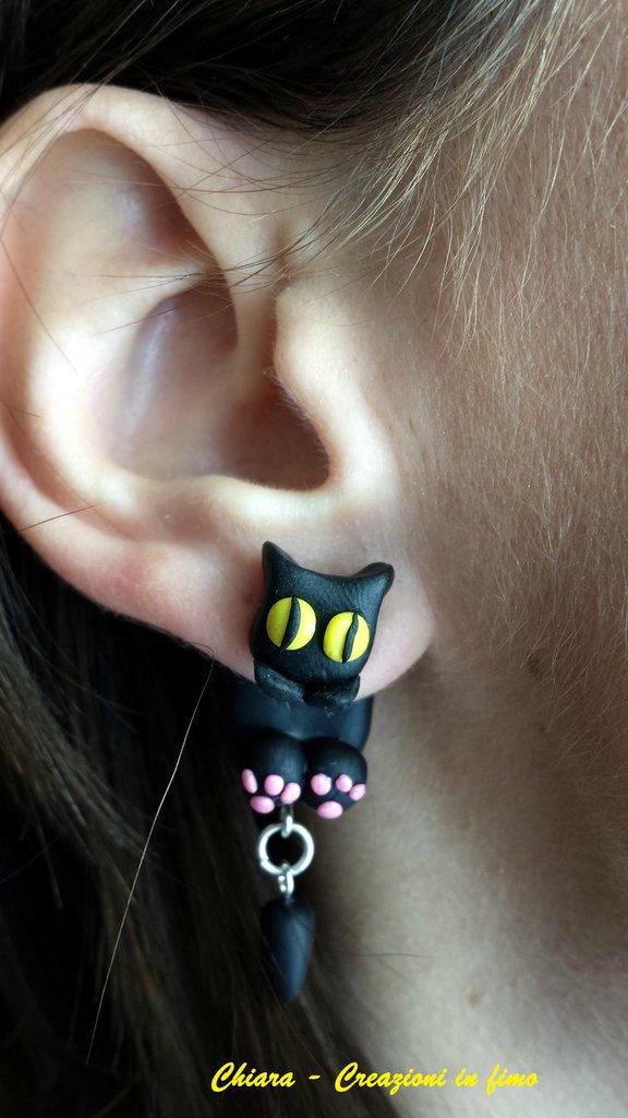 Orecchini in fimo handmade Gatti neri, bianchi, rossi, grigi kawaii miniature idee regalo amica compleanno