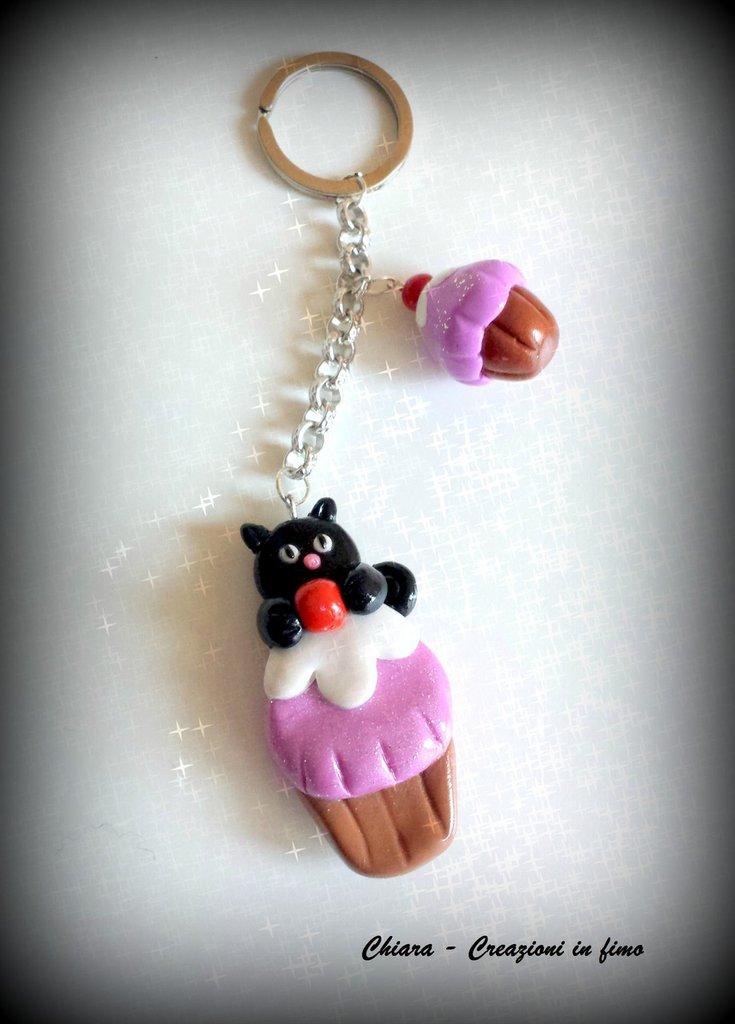Portachiavi in fimo handmade Catcake kawaii miniature idee regalo amica idea regalo natale regalo epifania bomboniere