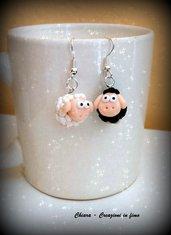 Orecchini in fimo handmade pecore kawaii miniature idee regalo amica bomboniere