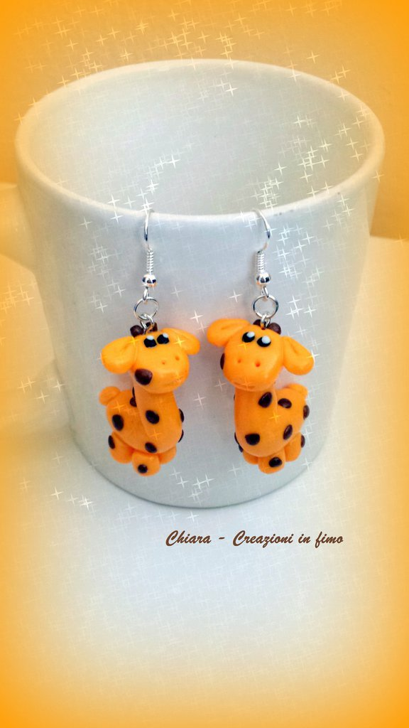 Orecchini in fimo handmade giraffe kawaii miniature idee regalo amica bomboniere