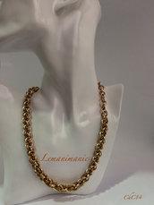 Collana chainmaille alluminio color oro e color bronzo