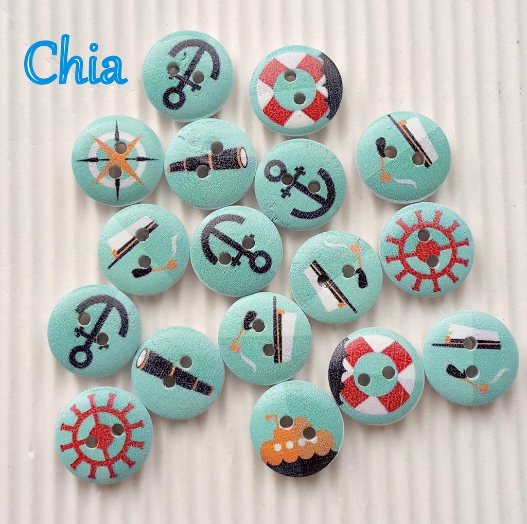 10 bottoni legno marinari fondo azzurro 15mm diametro