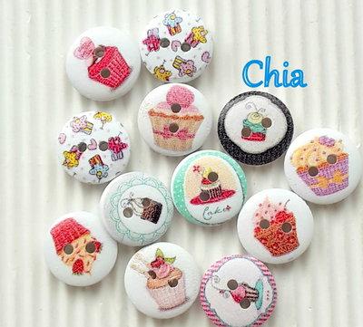 10 bottoni legno cupcake 15mm diametro