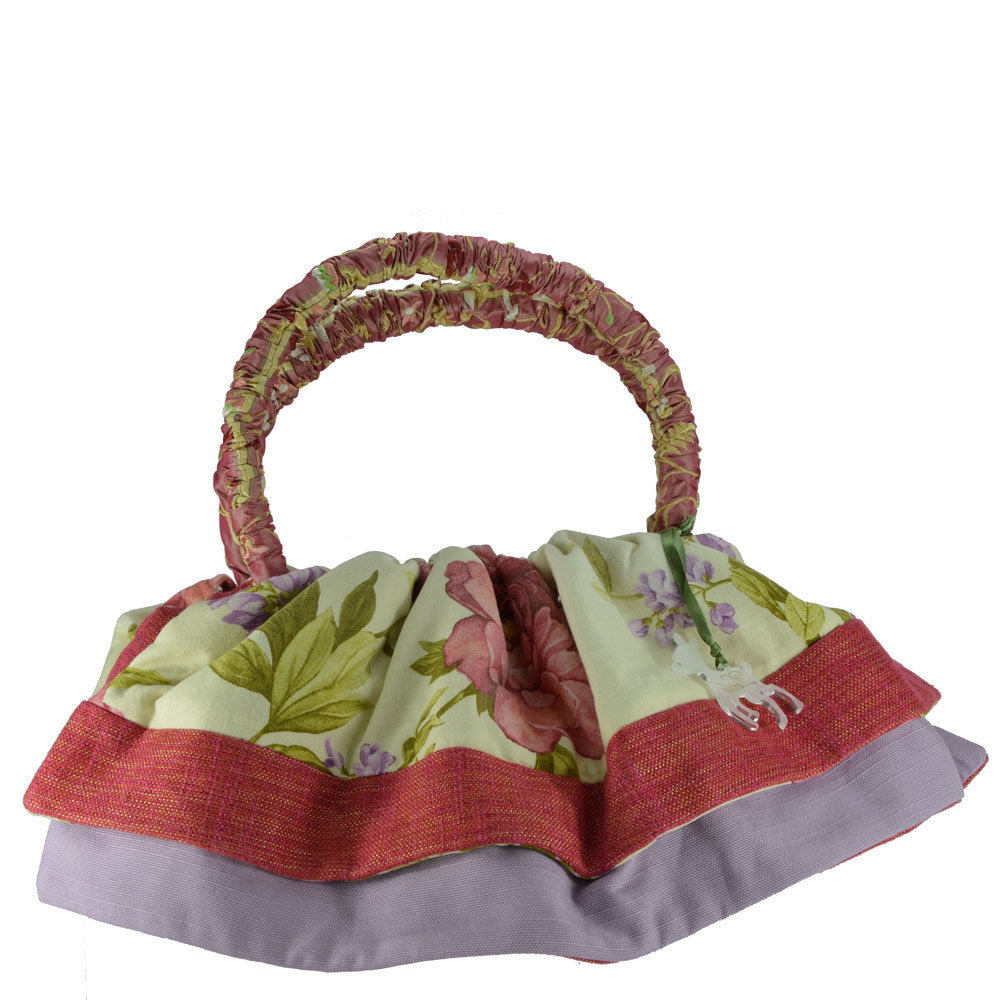 Borsa artigianale in tessuto lilla e rosa