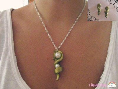 Spirale dorata con perle + orecchini