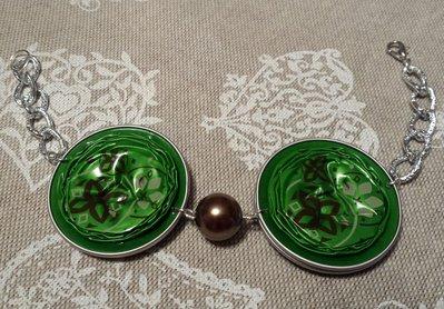 Bracciale cialde caffè verdi con fiori marroni
