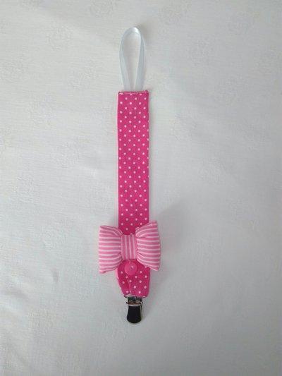 portaciuccio rosa a pois con fiocco in stoffa fatto a mano