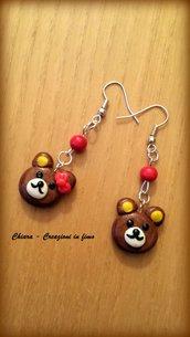 Orecchini in fimo handmade orsetti kawaii miniature idee regalo amica bomboniere