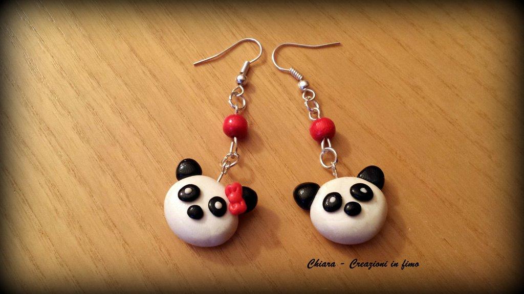 Orecchini In Fimo Handmade Panda Kawaii Miniature Idee Regalo Amica