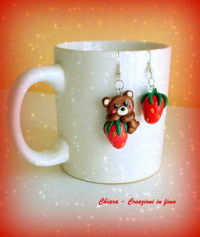 Orecchini in fimo handmade orsetto kawaii miniature idee regalo amica idea regalo Natale bomboniere