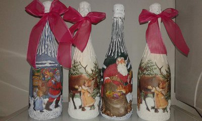 bottiglie decorate per Natale