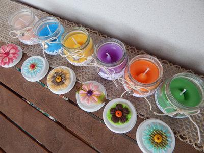 Candele colorate set da 6 vasetti in vetro decorati per for Candele colorate