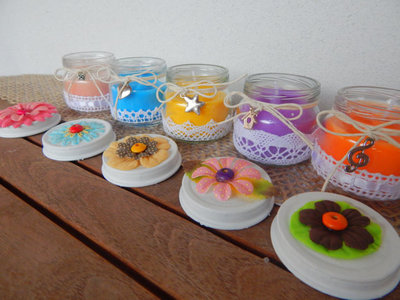 Candele colorate set da 6 vasetti in vetro decorati per - Vasetti vetro decorati ...