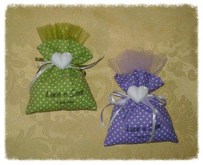 Bomboniera sacchetto portaconfetti con gessetto per matrimonio