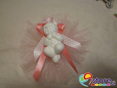 bomboniera bimba neonata su letto di tulle per nascita - battsimo