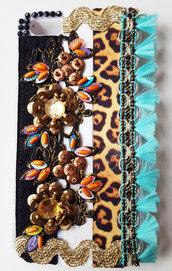 Cover etnica fiori bronzo iphone S5 - PEZZO UNICO!