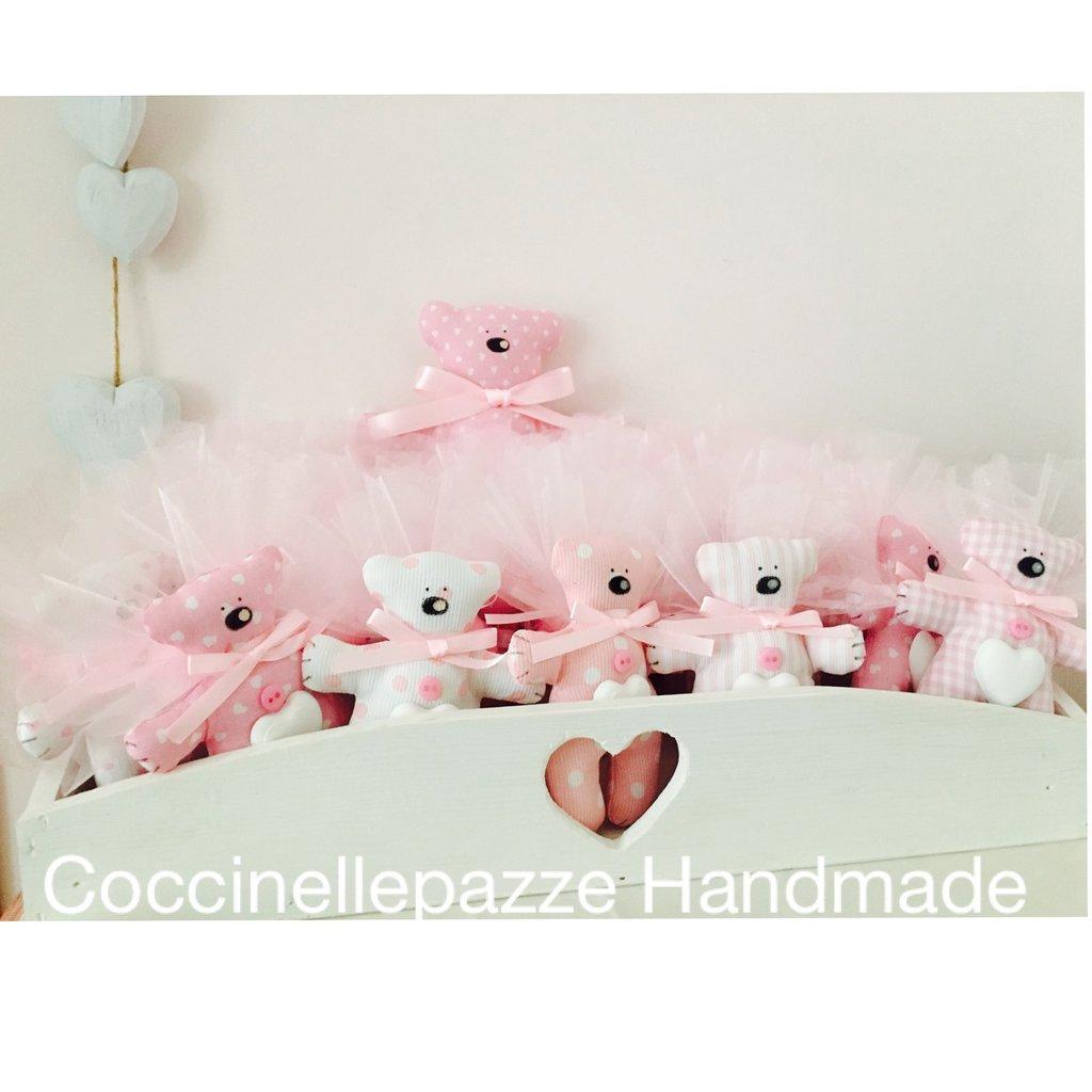 Bomboniere orsetto tilda con gessetto profumato, orsetti rosa celeste lilla beige ecrù