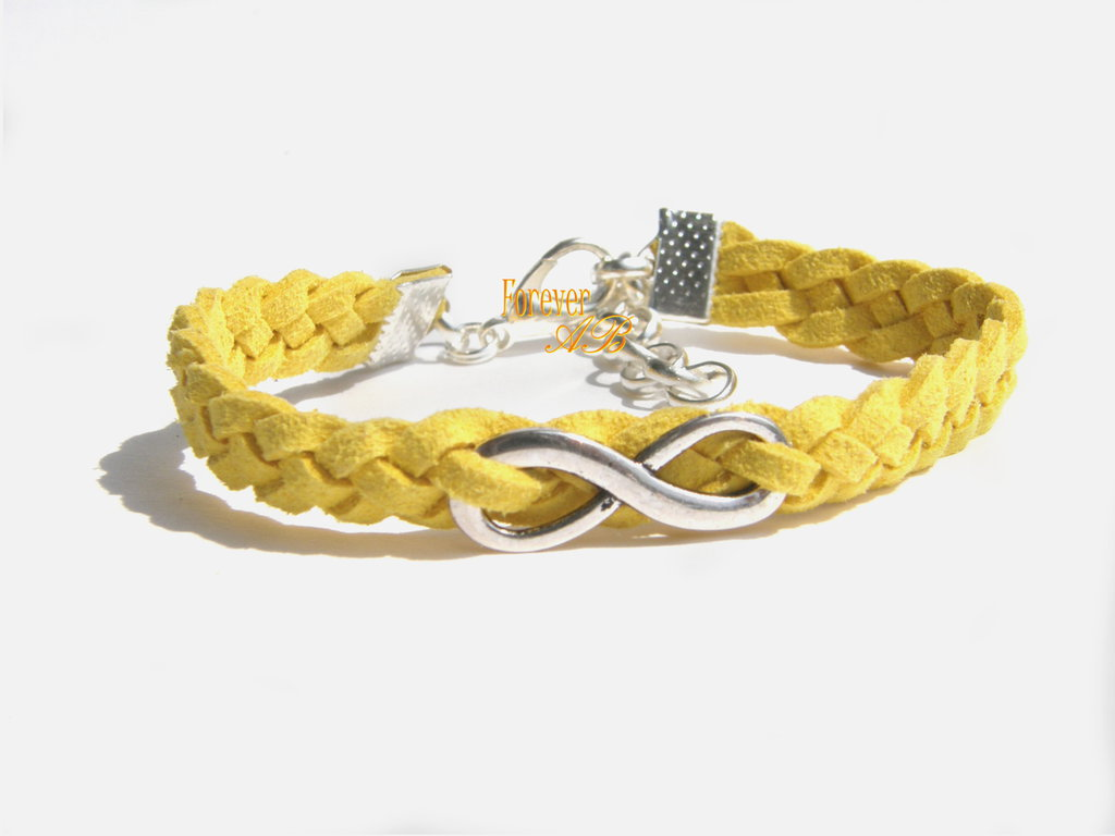 Bracciale treccia infinito uomo donna giallo regalo infinity pelle alcantara intrecciato