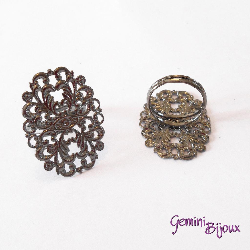 Base anello filigranato ovale 24x31 argento scuro