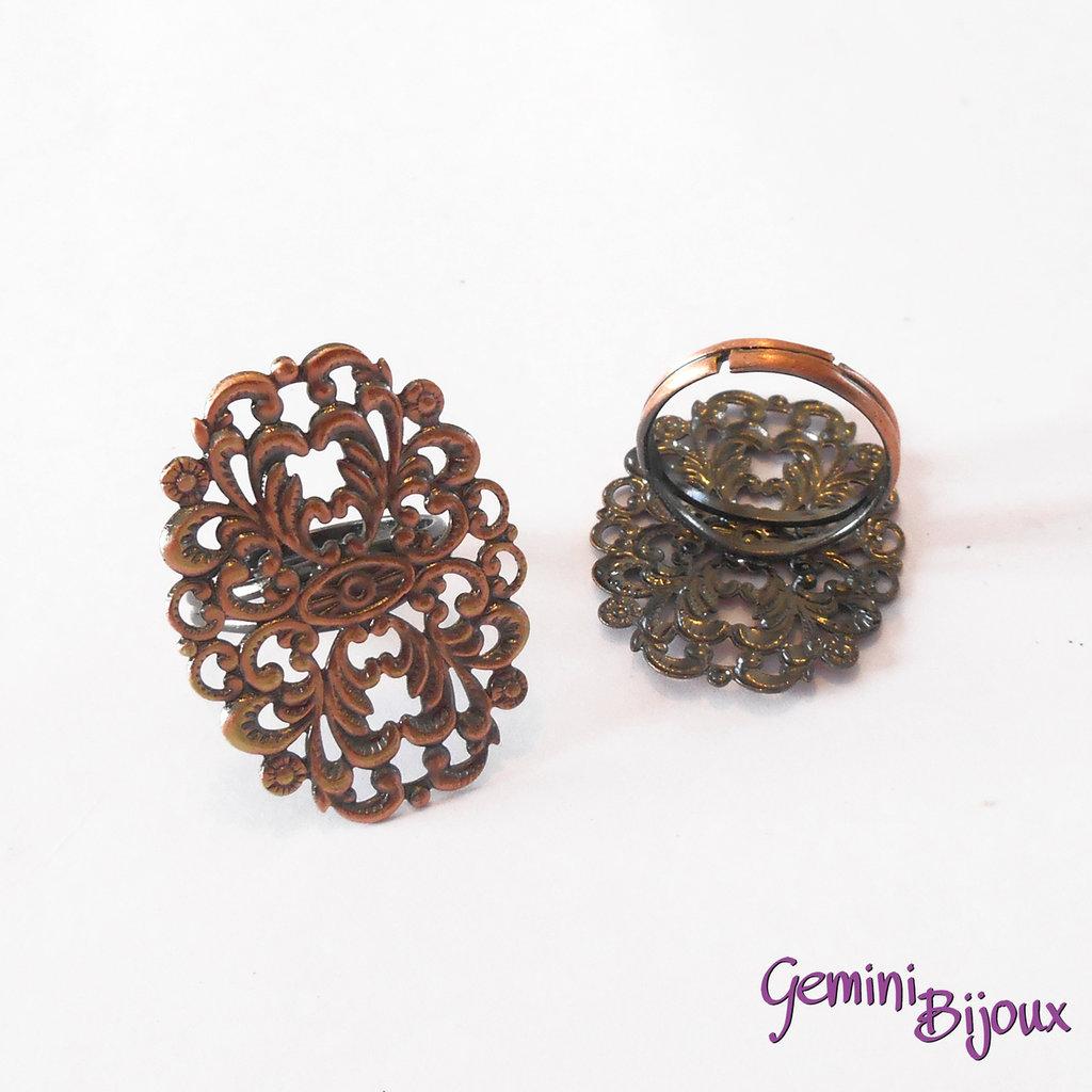 Base anello filigranato ovale 24x31 bronzo
