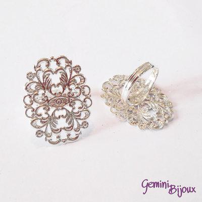 Base anello filigranato ovale 24x31 silver