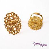 Base anello filigranato ovale 24x31 gold
