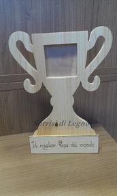 COPPA PORTAFOTO IN LEGNO PAPA' CAMPIONE
