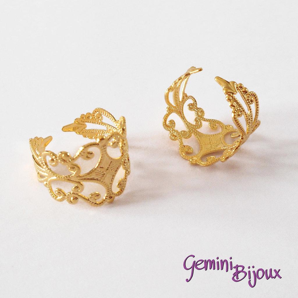 Anello filigranato con base per cabochon, oro