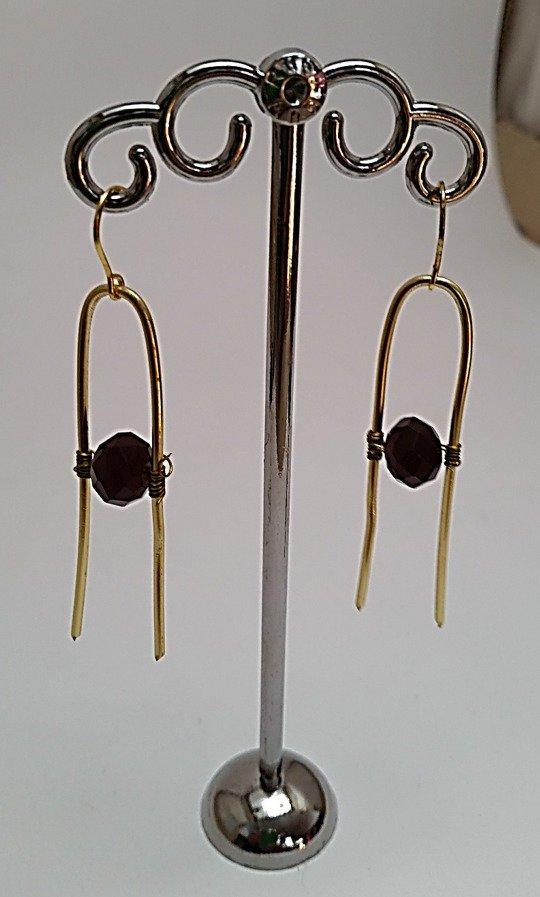 Orecchini pendenti in alluminio dorato battuto