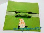 """Porta torta """"PRIMAVERA"""" in tessuto fatto a mano con appliquè bimba Sunbonnet"""
