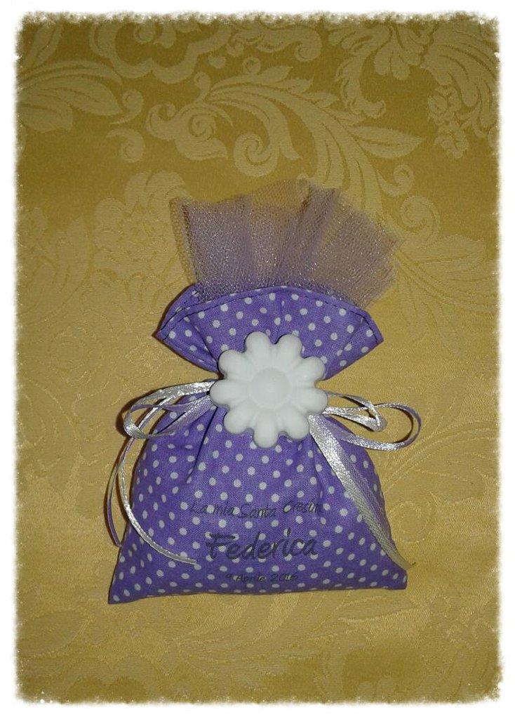 Bomboniera sacchetto con gessetto e stampa personalizzata per Cresima