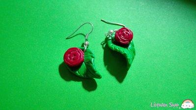 Orecchini foglie con rose