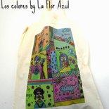 """Borsa di cotone Shopper Con Disegno Originale Stampato """"Colores"""""""
