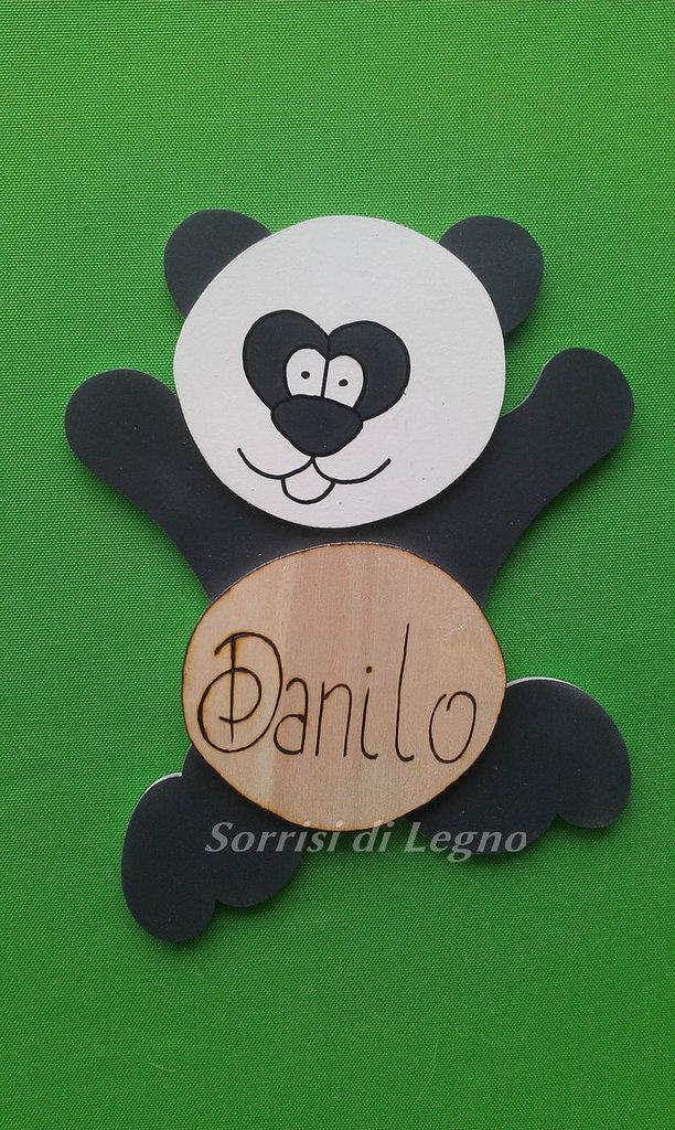 PANDA IN LEGNO CON NOME PIROGRAFATO