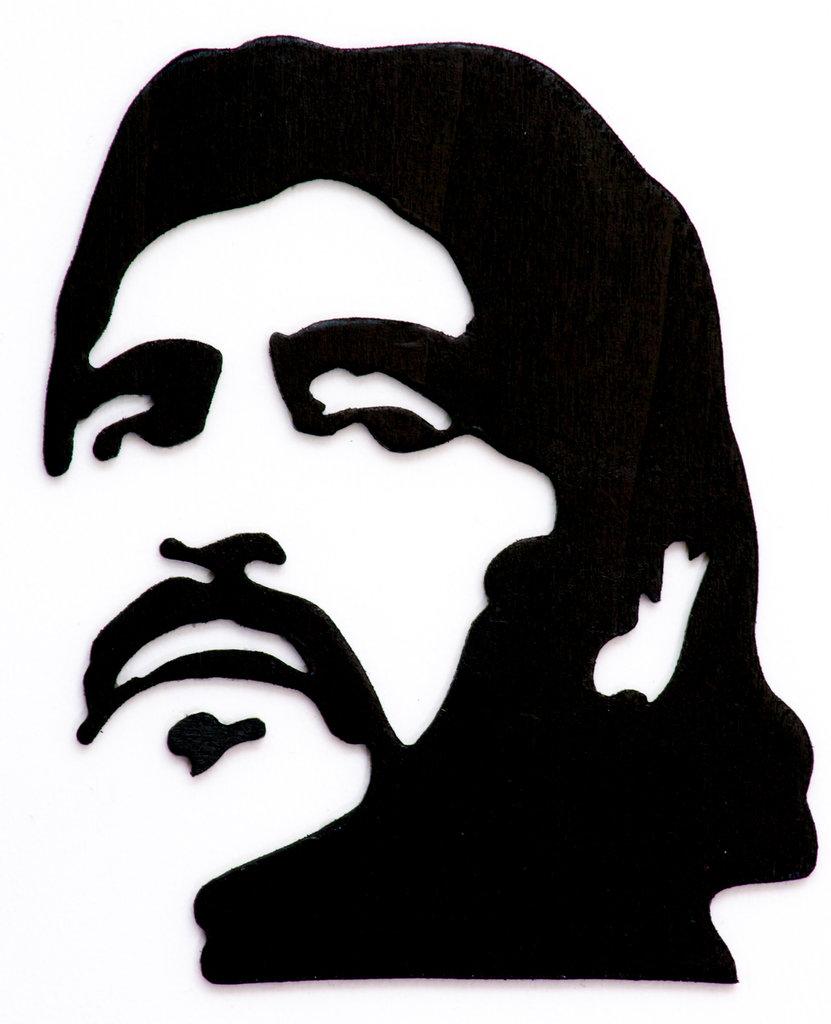 DIEGO ARMANDO MARADONA quadro in legno, fatto a mano al traforo, immagine di colore nero e sfondo bianco - Regalo ideale per i Tifosi del Napoli e fans di Maradona