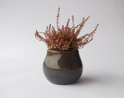 Vasetto contenitore porta oggetti in terracotta e ceramica smaltata