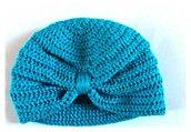 cappello berretta in cotone in forma di turbante,colore turchese - Modello Indio