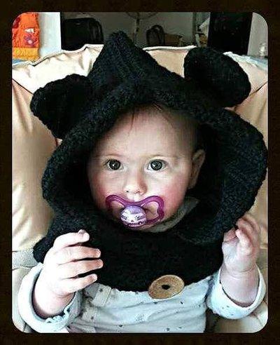 cappello cappuccio ad uncinetto in lana morbidissima,con orecchie a forma di gatto -modello Cat