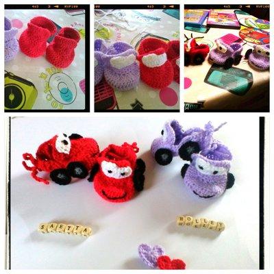 scarpine in lana ad uncinetto in forma dei personaggi di  cars,colori rosso e viola -modello littlecars