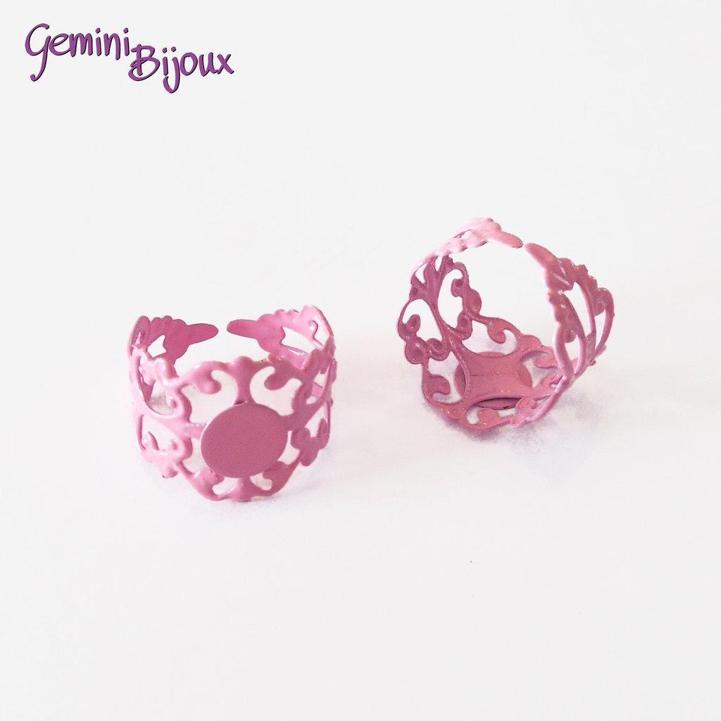 Anello filigranato con base per cabochon, rosa